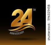 24 years golden anniversary...   Shutterstock .eps vector #596325458