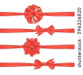 set of red bows and ribbons on... | Shutterstock .eps vector #596326820