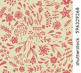 vector seamless floral pattern  ... | Shutterstock .eps vector #596329268