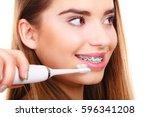 dentist and orthodontist... | Shutterstock . vector #596341208