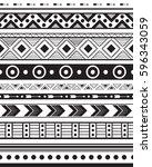 hand drawn vector boho seamless ... | Shutterstock .eps vector #596343059