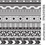 hand drawn vector boho seamless ... | Shutterstock .eps vector #596345486