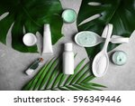 natural cosmetics and leaves on ... | Shutterstock . vector #596349446