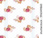 seamless floral pattern with... | Shutterstock .eps vector #596349860