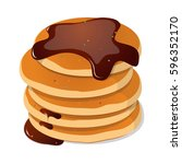 fresh tasty hot pancakes with... | Shutterstock .eps vector #596352170