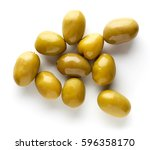 Small photo of Pickled olives isolated on white background, top view