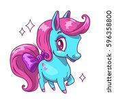 little cute blue horse with... | Shutterstock .eps vector #596358800