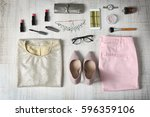 flat lay set of female clothes...   Shutterstock . vector #596359106