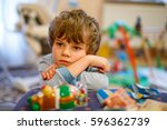 Portrait Of Little Kid Boy Sad...