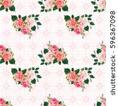 seamless floral pattern with... | Shutterstock .eps vector #596367098