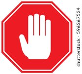 hand stop sign. vector. | Shutterstock .eps vector #596367524