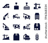 crane icons set. set of 16...   Shutterstock .eps vector #596368334