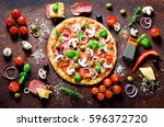 food ingredients and spices for ... | Shutterstock . vector #596372720