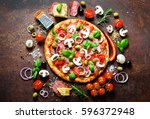 food ingredients and spices for ... | Shutterstock . vector #596372948
