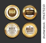 golden badges and labels with... | Shutterstock .eps vector #596375210
