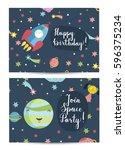 happy birthday cartoon greeting ... | Shutterstock .eps vector #596375234