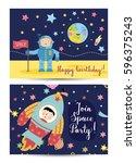 happy birthday cartoon spaces... | Shutterstock .eps vector #596375243