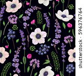 seamless pattern with anemone... | Shutterstock .eps vector #596376764
