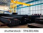 iron and steel in industrial... | Shutterstock . vector #596381486