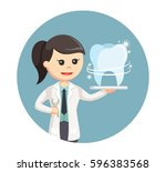 woman dentist with shiny tooth... | Shutterstock .eps vector #596383568