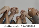 diverse people together... | Shutterstock . vector #596384864