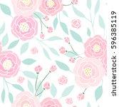 cute pink peony seamless... | Shutterstock .eps vector #596385119