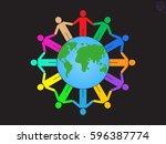 globe  people  icon vector... | Shutterstock .eps vector #596387774