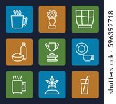 cup icons set. set of 9 cup... | Shutterstock .eps vector #596392718