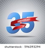 35 years anniversary with red... | Shutterstock .eps vector #596393294