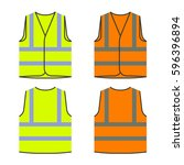 reflective safety vest yellow... | Shutterstock .eps vector #596396894