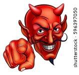 an evil looking devil character ... | Shutterstock .eps vector #596397050
