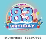 83 birthday logo with balloon... | Shutterstock .eps vector #596397998