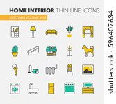 house interior linear thin line ... | Shutterstock .eps vector #596407634