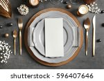 beautiful table setting on grey ... | Shutterstock . vector #596407646