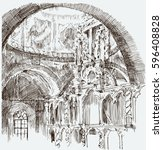 sketch of the interior of the... | Shutterstock .eps vector #596408828