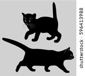 Stock vector cat and kitten black silhouette vector image 596413988