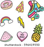 fashion cute patches  stickers... | Shutterstock .eps vector #596419550