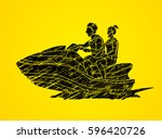 man and woman on a boat graphic ... | Shutterstock .eps vector #596420726