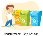 little boy recycling garbage | Shutterstock .eps vector #596424584