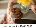 a cozy morning  a cookie  a... | Shutterstock . vector #596425289
