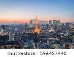 tokyo city view with tokyo... | Shutterstock . vector #596427440
