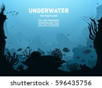 underwater background with... | Shutterstock .eps vector #596435756
