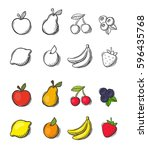 collection of freehand drawn... | Shutterstock .eps vector #596435768