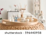 tray with beautiful spa... | Shutterstock . vector #596440958