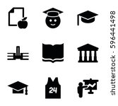 college icons set. set of 9... | Shutterstock .eps vector #596441498