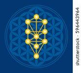 golden tree in blue flower of... | Shutterstock .eps vector #596443964