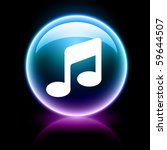neon glossy web icon   music