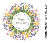 watercolor greeting card with... | Shutterstock . vector #596452169