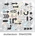 doodle sketch arrows on white... | Shutterstock .eps vector #596452598