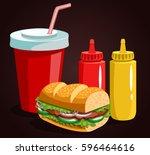 fast food composition. menu... | Shutterstock .eps vector #596464616